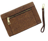 "WCM Clutch Purse Brown Tan Textured Safari Genuine Leather Handbag Wristlet 8"" Thumbnail 3"