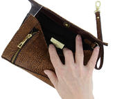 "WCM Clutch Purse Brown Tan Textured Safari Genuine Leather Handbag Wristlet 8"" Thumbnail 4"
