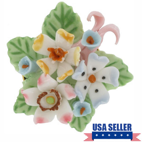 Pin Brooch China Ceramic Forget Me Not Flower Pink Blue Bouquet