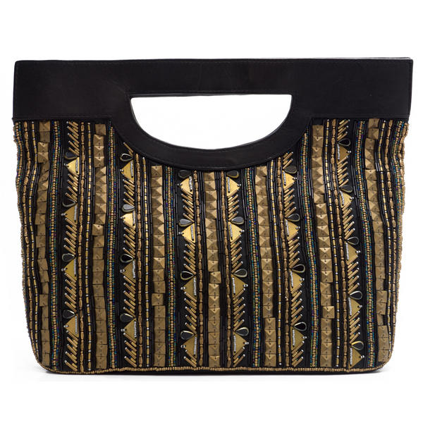WCM Black Genuine Leather Gold Tone Bronze Hand Beaded Striped Design Tote Bag