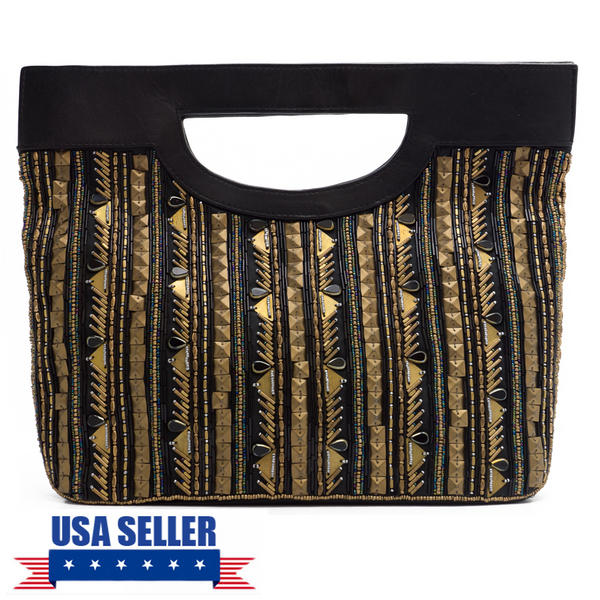 WCM Black Genuine Leather Gold Tone Bronze Hand Beaded Striped Design Tote Purse
