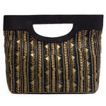 WCM Black Genuine Leather Gold Tone Bronze Hand Beaded Striped Design Tote Purse Thumbnail 2