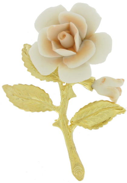 Peach Blush White China Rose Flower Pin Brooch