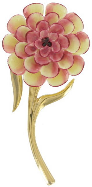 Pin Brooch China Zinnia White Dark Pink Flower