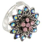 Pink Blue AB Rhinestone Silver Tone Flower Cocktail Ring Adjustable