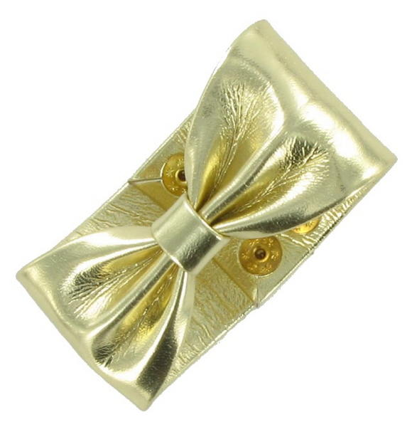 Gold Tone Metallic Pleather Bow Statement Cuff Bracelet