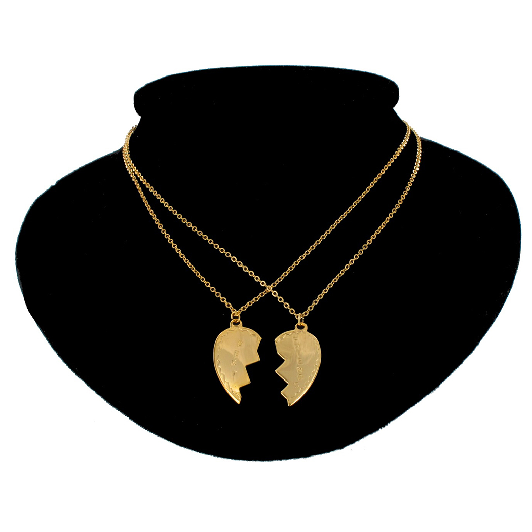 Ky & Co Necklace Bff Set Best Friends Broken Heart 2 Piece Gold Tone Friendship Thumbnail 1