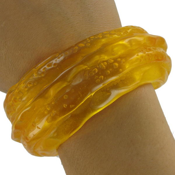 Orange Sea Beach Glass Style Lucite Cuff Statement Bracelet