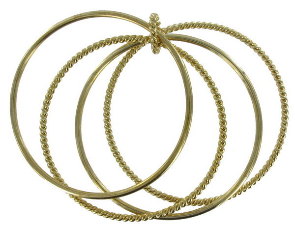 Thin Gold Tone Twist Set Of 4 Bangle Bracelet