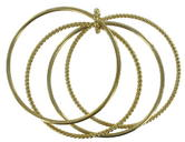 Thin Gold Tone Twist Set Of 4 Bangle Bracelet Thumbnail 1