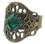 Vintage Neo Victorian Antiqued Gold Tone Green Glass Kim Craftsmen Ring
