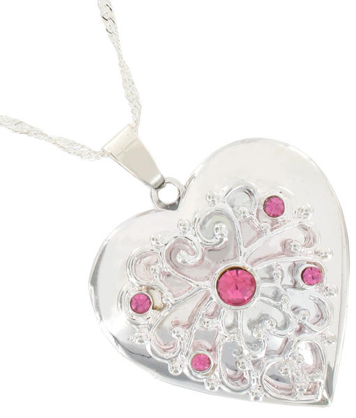 Pendant Locket Necklace Silver Tone Heart Pink Rhinestone