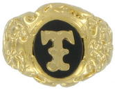 Ring Mens Gold Tone Black Onyx T Initial Signet Sz 13 USA Made