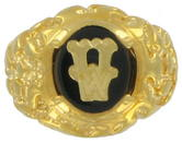 Ring Mens Gold Tone Black Onyx W Initial Signet Sz 7 USA Made