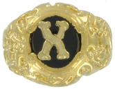 Ring Mens Gold Tone Black Onyx X Initial Signet Sz 12 USA Made