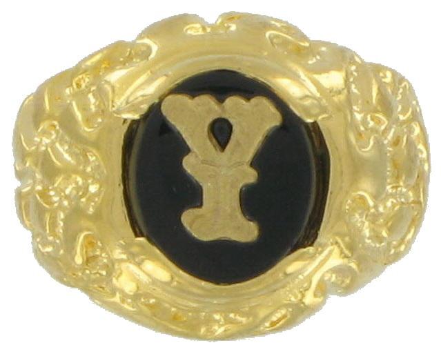 Mens Gold Black Onyx Y Initial Signet 9 Usa Made Mens