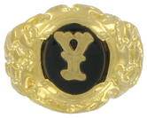 Ring Mens Gold Tone Black Onyx Y Initial Signet Sz 11 USA Made
