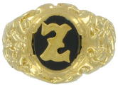 Ring Mens Gold Tone Black Onyx Z Initial Signet Sz 12 USA Made