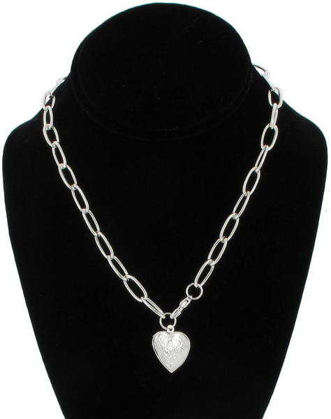 Necklace Locket New Silver Tone Chain Link Heart