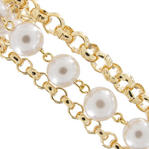 3 Strand Beaded Faux Pearl Gold Tone Chain Link Bracelet Thumbnail 2