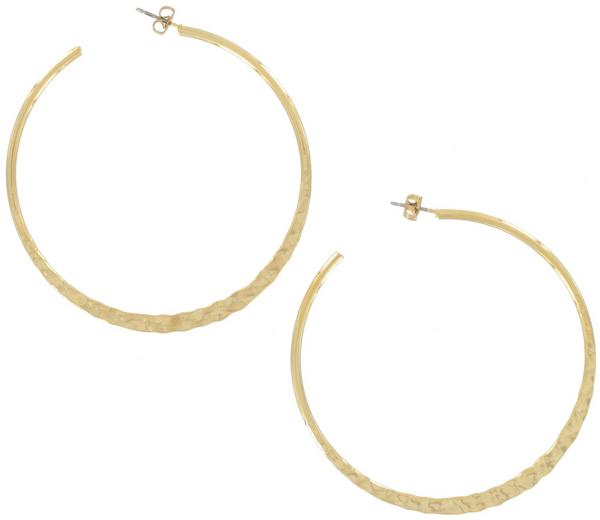 Ky & Co USA Made Pierced Hoop Earrings Yellow Gold Tone Large 2 3/8""