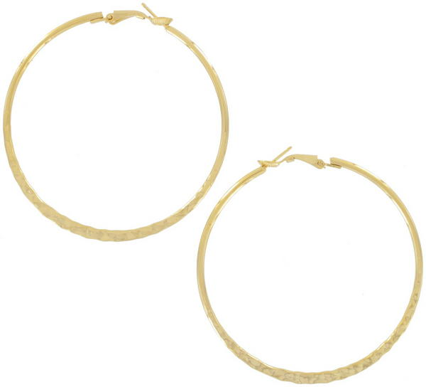 Ky & Co Large Yellow Gold Tone Pierced Hoop Earrings USA Made 2 5/8""