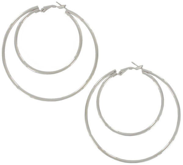 Ky & Co Large Silver Tone Double Loop Hoop Pierced Earrings USA Made 2 5/8""