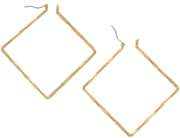 Ky and Co Yellow Gold Tone Pierced Twisted Square Diamond Shape Earrings 2 1/2""