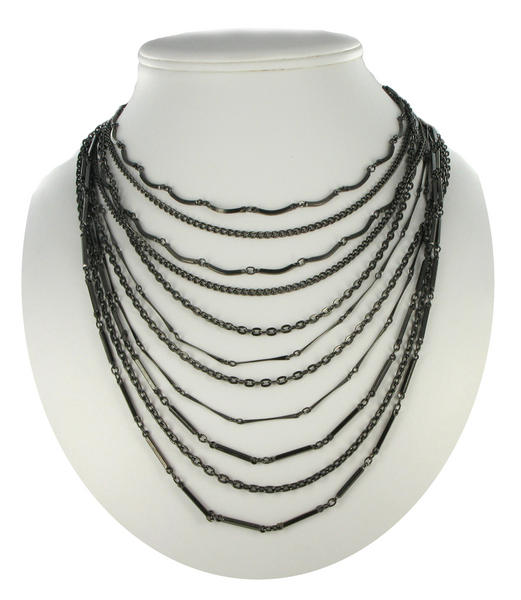 Ky & Co Gunmetal Gray Multi Strand Layered Chain Link Necklace