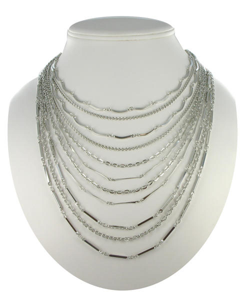Ky & Co Silver Tone Multistrand Layered Chain Link Necklace