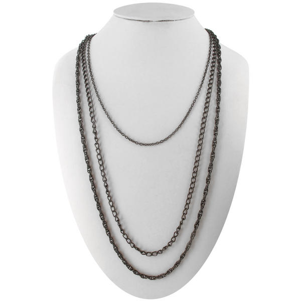 Ky & Co Gun Metal Layered Three Strand Chain Necklace
