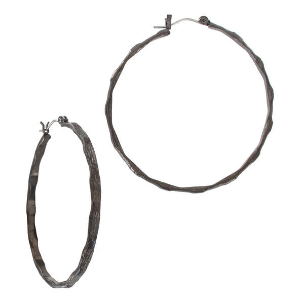 Ky & Co Bamboo Texture Gunmetal Gray Tone Pierced Hoop Earrings USA Made 1 7/8""