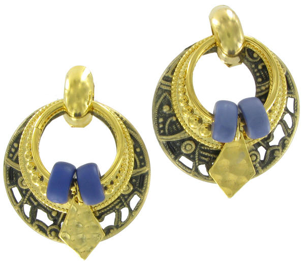 Antiqued Gold Tone Blue Boho Door Knocker Earrings