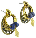 Antiqued Gold Tone Blue Boho Door Knocker Earrings Thumbnail 2