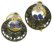 Antiqued Gold Tone Blue Boho Door Knocker Earrings Thumbnail 3