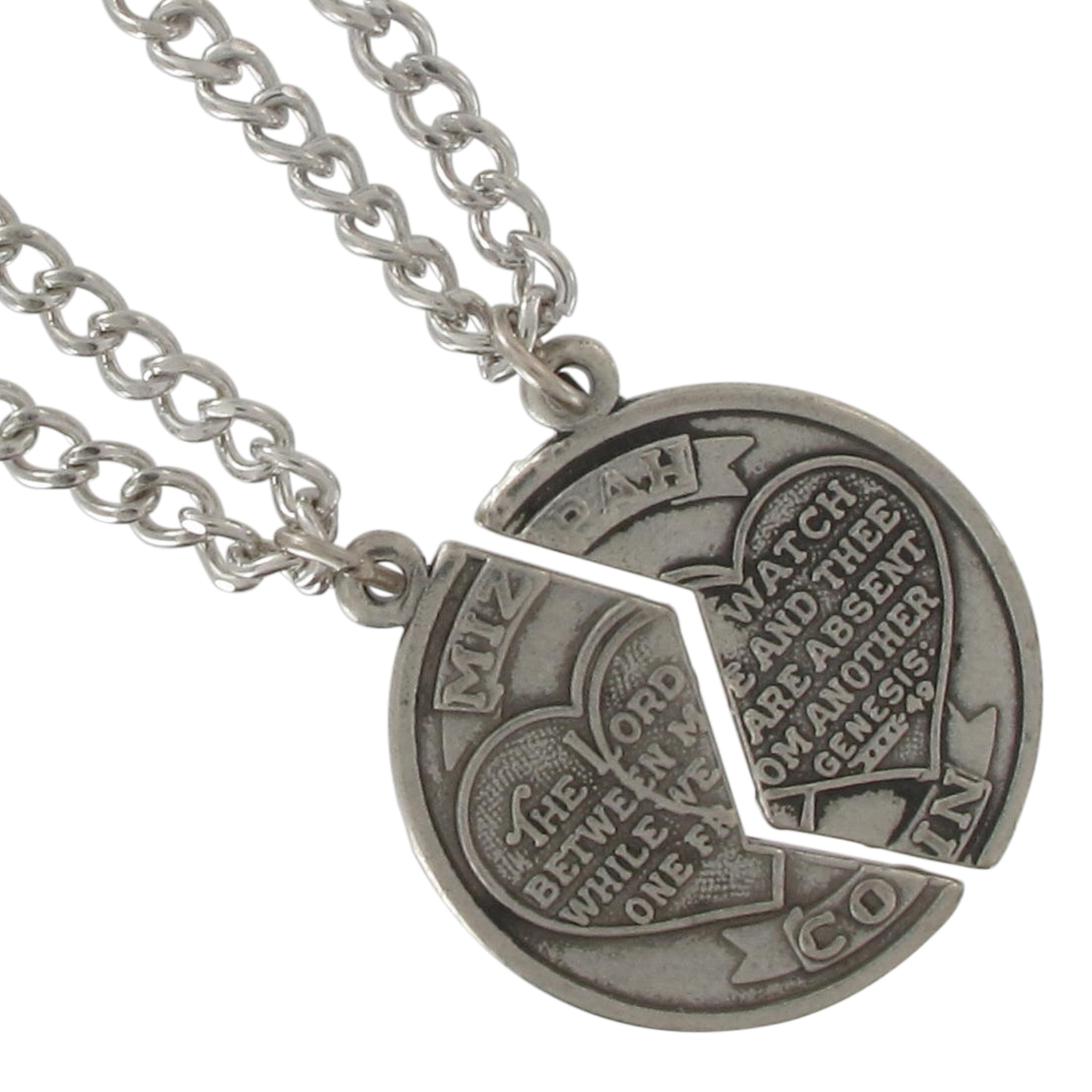 BFF Pendant Necklace Set Mizpah Coin Best Friends Genesis Pendant Silver Tone Thumbnail 2