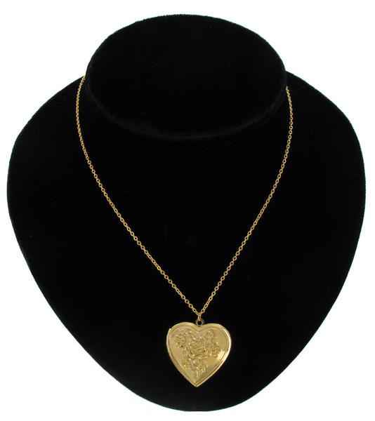 Ky & Co Pendant Locket Necklace Gold Tone Rose Heart Photo Metal
