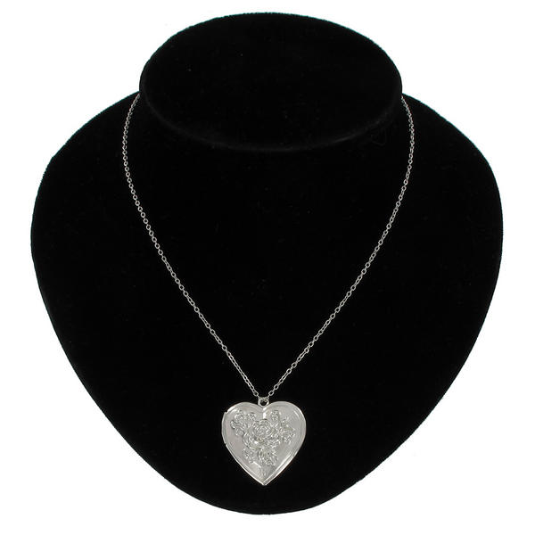 Ky & Co Pendant Locket Necklace Silver Tone Rose Heart Photo Metal