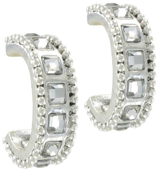 Chicos Silver Tone Square Rhinestone Hoop Earrings