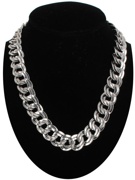 "Silver Tone 5/8"" Link Chunky Double Link Chain Necklace"