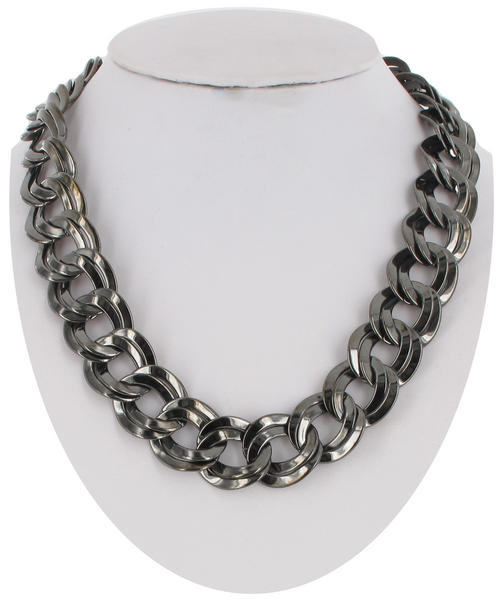 Ky & Co Gun Metal Gray Dark Silver Tone Chain Necklace Chunky Double Link