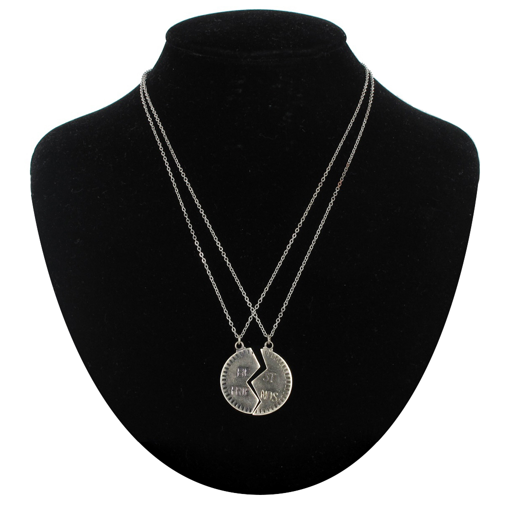 Pendant Bff Necklace Set Silver Tone Best Friends Broken Circle Pendent
