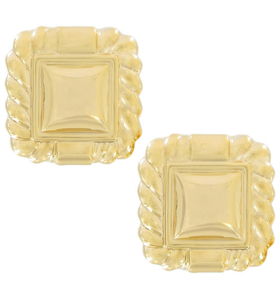 Clip On Earrings Yellow Gold Tone Button Lightweight Square 1""