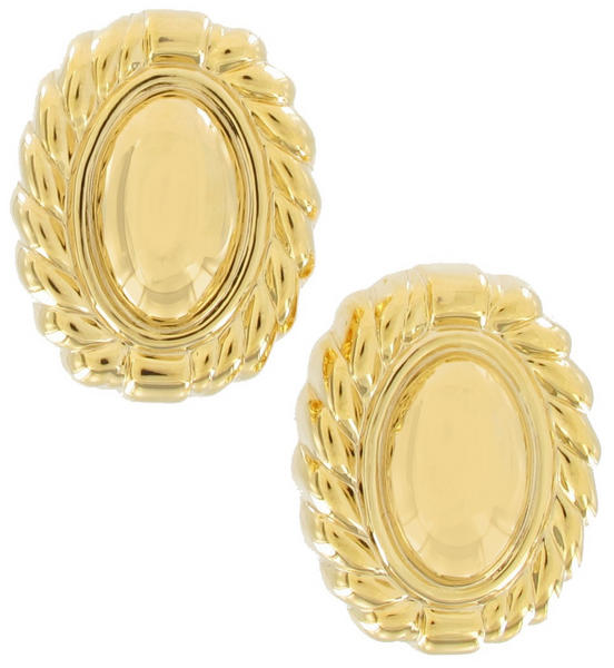 Clip On Earrings Yellow Gold Tone Button Large Big Lightweight Oval 1""
