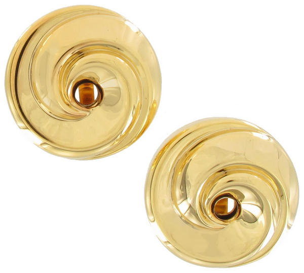 Clip On Earrings Yellow Gold Tone Button Large Big Lightweight Swirl Round 1""