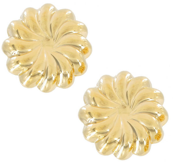 Clip On Earrings Yellow Gold Tone Button Big Lightweight Bundt Jello Mold 1""