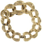 Gold Tone Niello Graduated Etched Link Chain Bracelet Thumbnail 2