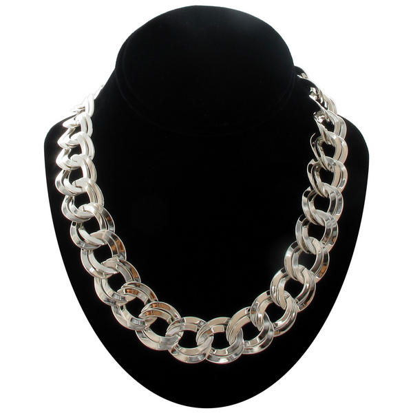 Ky & Co Silver Tone Chunky Double Link Chain Necklace