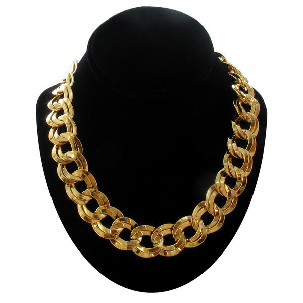 Ky & Co Gold Tone Chunky Double Link Chain Necklace USA Made