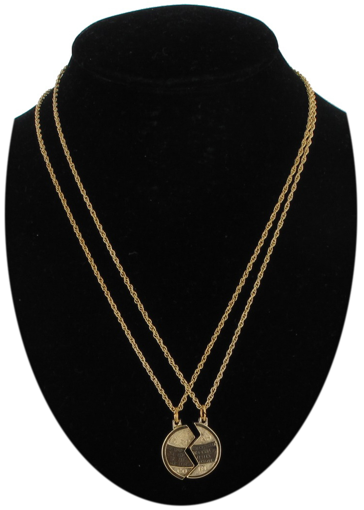Foster Necklace Bff Set Mizpah Coin Best Friends Genesis Pendant Gold Tone Small Thumbnail 1
